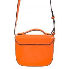 На фото 3 - Оранжевая лаковая сумка с замком-сердечко 6239