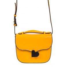 На фото 2 - Лаковая сумка с замком-сердечко цвета манго 6239