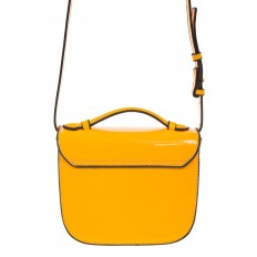 На фото 3 - Лаковая сумка с замком-сердечко цвета манго 6239