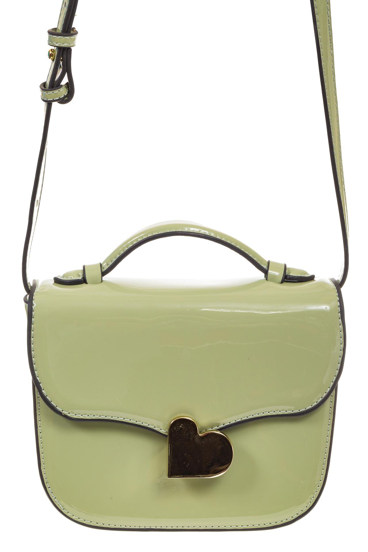 На фото 2 - Оливковая лаковая сумка с замком-сердечко 6239