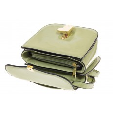 На фото 4 - Оливковая лаковая сумка с замком-сердечко 6239