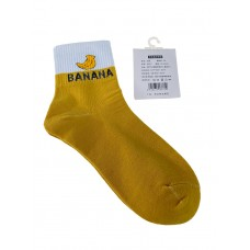 На фото 1 - Женские носки с высокой резинкой, надписью и принтом, цвет жёлтый