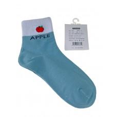 На фото 1 - Женские носки с высокой резинкой, надписью и принтом, цвет бирюзовый