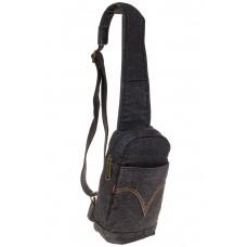 На фото 1 - Сумка из серо-черной джинсовой ткани слинг-бэг