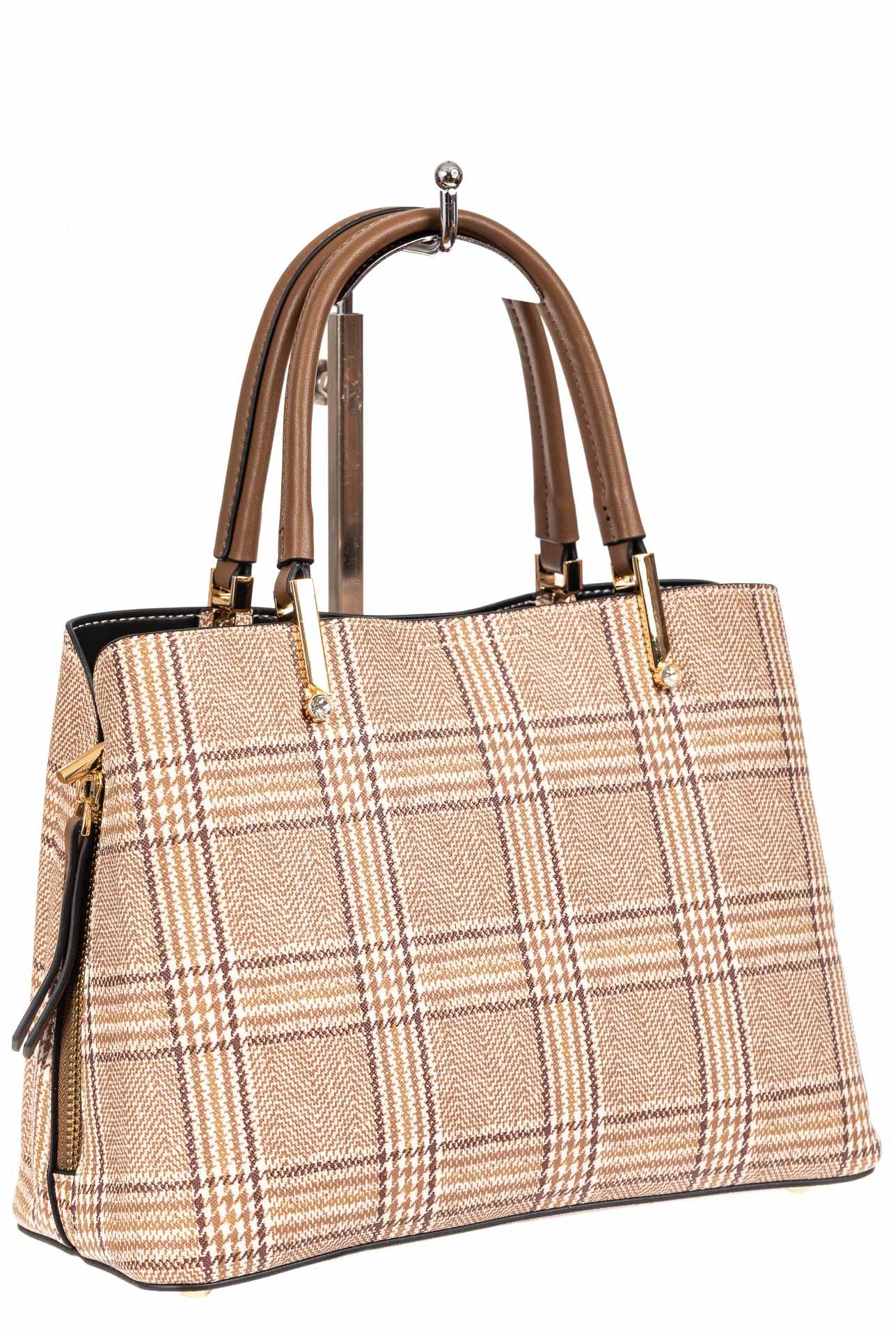 Женская сумка тоут из принтованного кожзама, цвет бежевый63321PJ0420/10