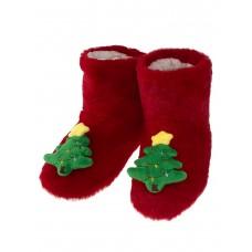 На фото 1 - Женские тапочки-угги с объёмным декором-ёлочкой в ассортименте, цвет красный