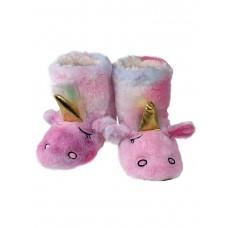 На фото 1 - Детские тапочки-угги в виде единорожков, розовые с голубым