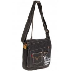 На фото 1 - Сумка-почтальонка серо-черного цвета из джинсы