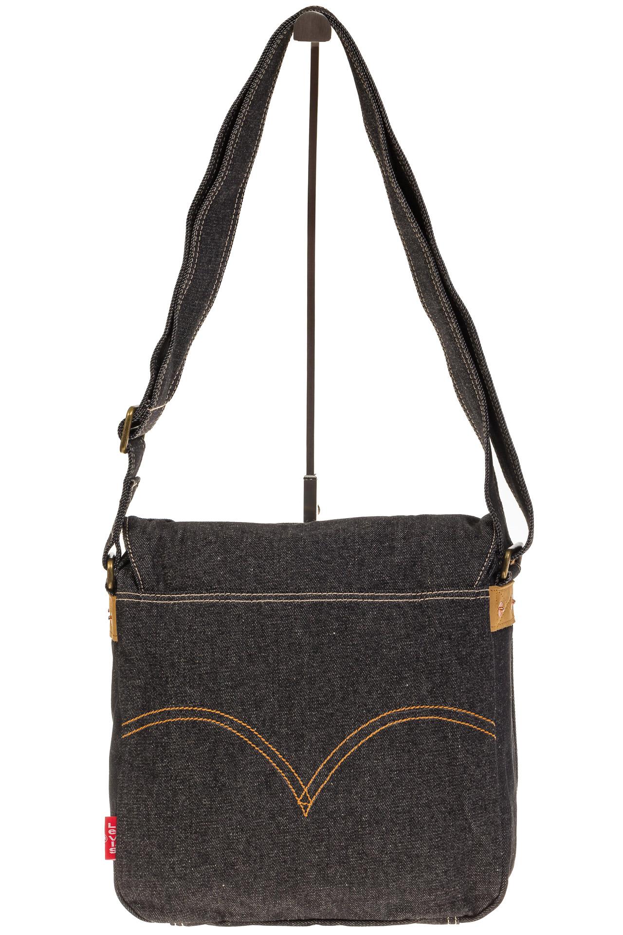 На фото 3 - Сумка-почтальонка серо-черного цвета из джинсы