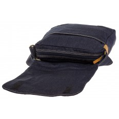 На фото 4 - Сумка-почтальонка синего цвета из джинсы