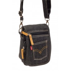 На фото 1 - Маленькая мужская сумка через плечо из джин...