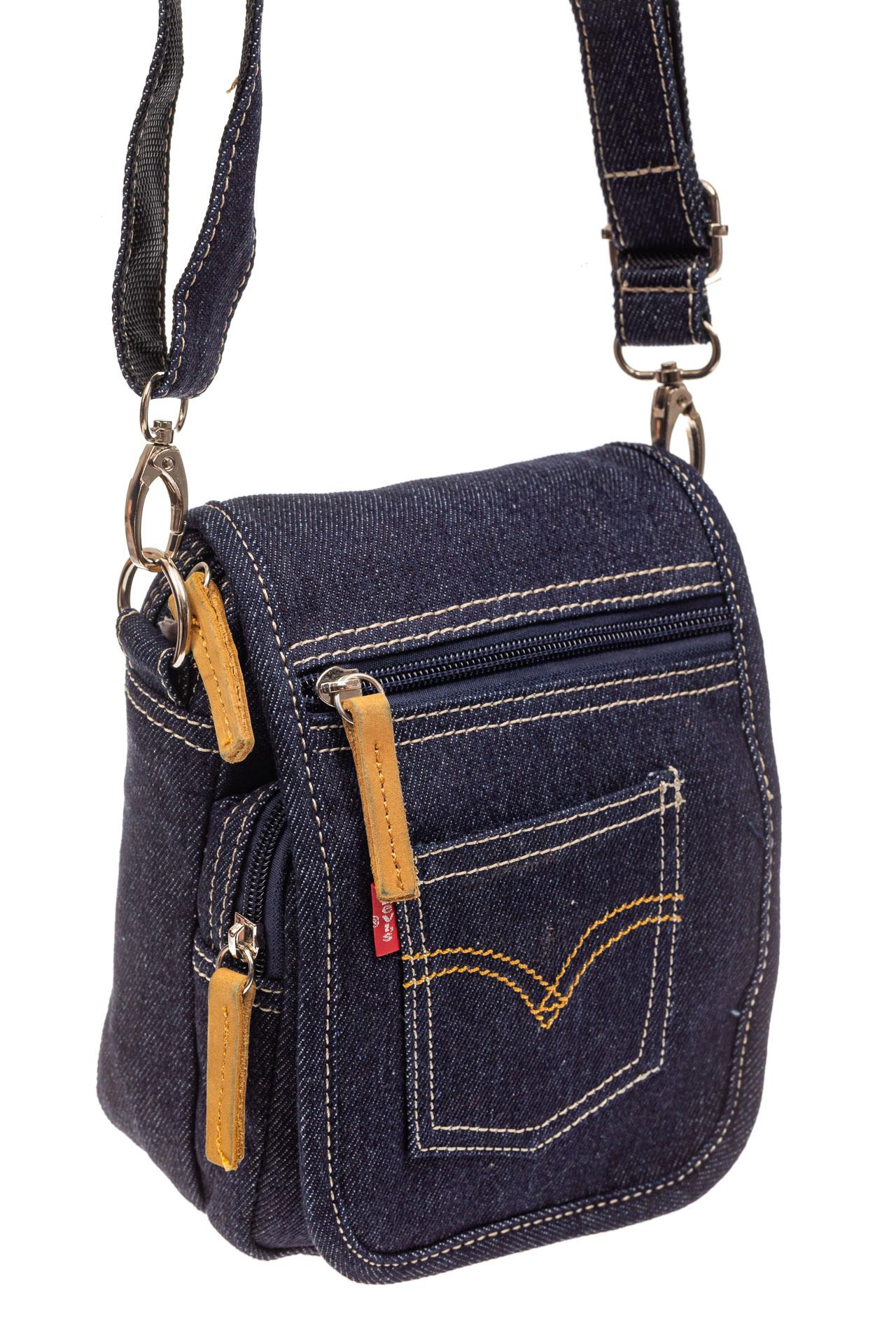 На фото 1 - Маленькая мужская сумка через плечо из джинсы, цвет синий