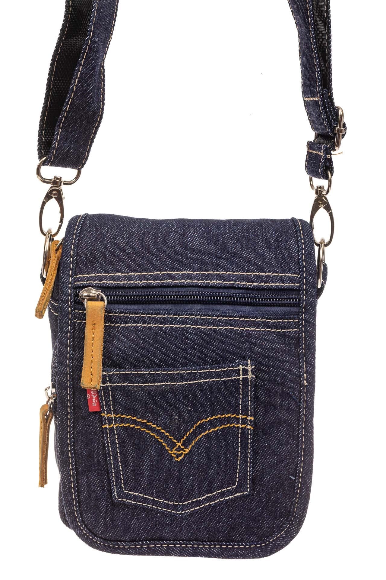 На фото 2 - Маленькая мужская сумка через плечо из джинсы, цвет синий
