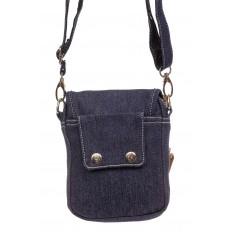 На фото 3 - Маленькая мужская сумка через плечо из джинсы, цвет синий