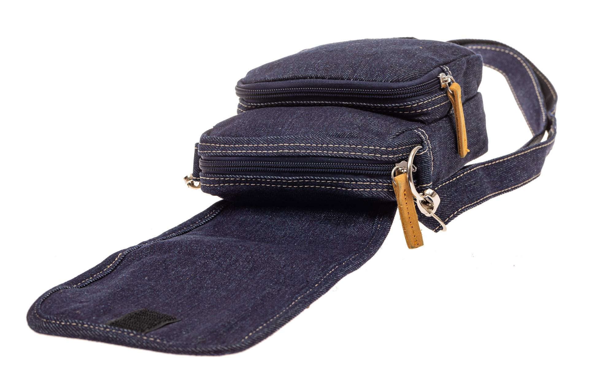 На фото 4 - Маленькая мужская сумка через плечо из джинсы, цвет синий