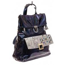 На фото 1 - Женский рюкзак из искусственной и натуральной кожи, основной цвет синий металлик