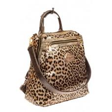На фото 1 - Женский рюкзак из кожи с леопардовым принтом