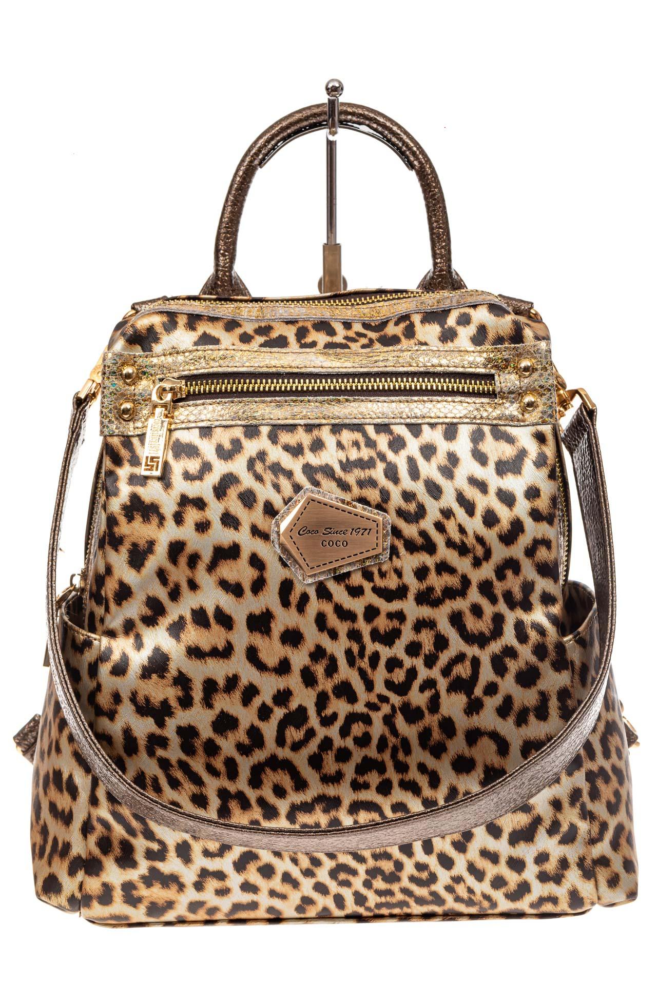 На фото 2 - Женский рюкзак из кожи с леопардовым принтом