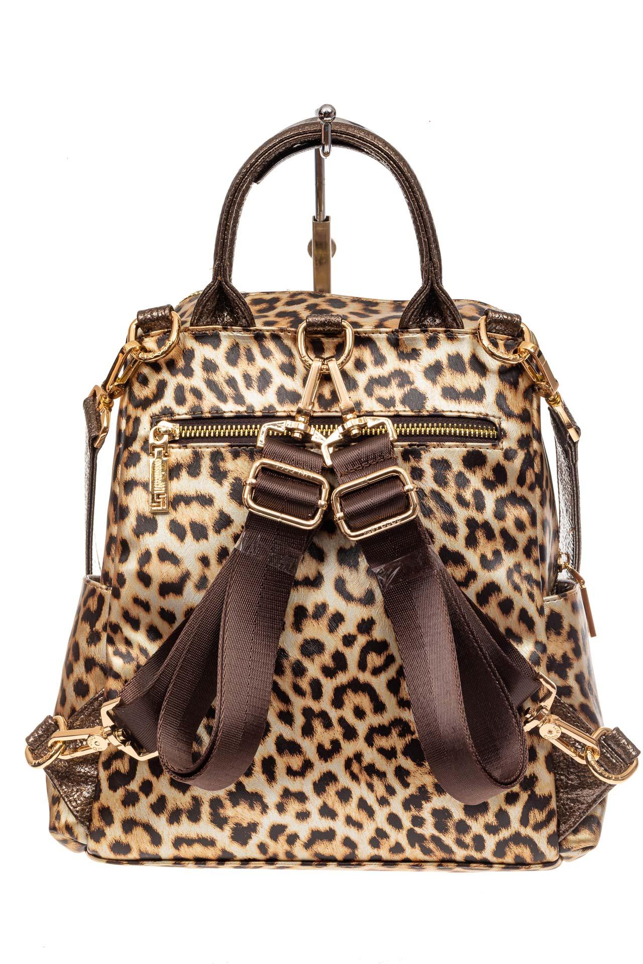 На фото 3 - Женский рюкзак из кожи с леопардовым принтом