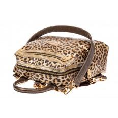 На фото 4 - Женский рюкзак из кожи с леопардовым принтом