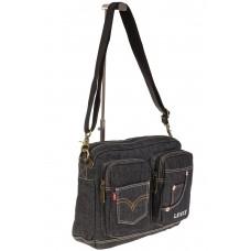 На фото 1 - Серо-черная джинсовая сумка с принтом