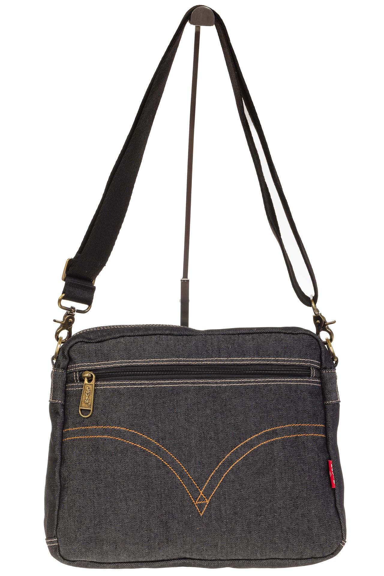 На фото 3 - Серо-черная джинсовая сумка с принтом