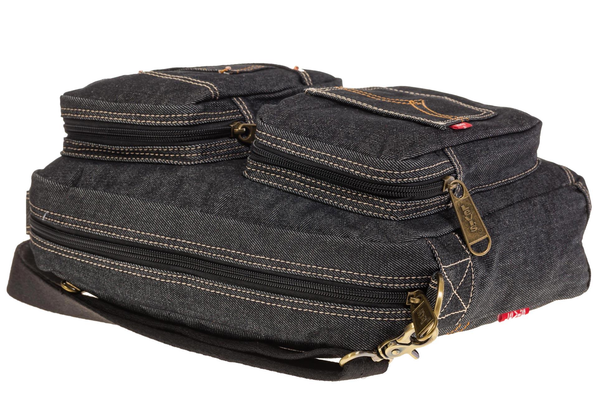 На фото 4 - Серо-черная джинсовая сумка с принтом
