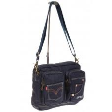 На фото 1 - Синяя джинсовая сумка с принтом