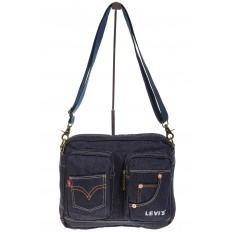 На фото 2 - Синяя джинсовая сумка с принтом