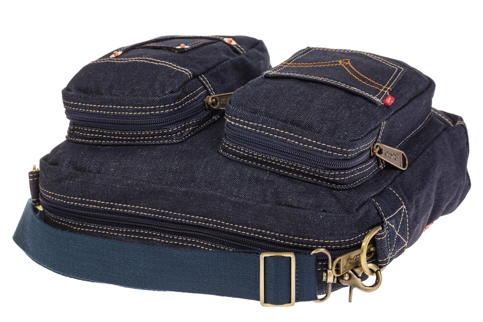 На фото 4 - Синяя джинсовая сумка с принтом