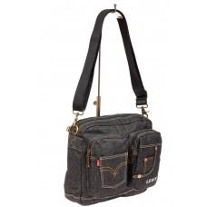 На фото 1 - Джинсовая сумка через плечо, цвет серый