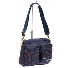 На фото 1 - Джинсовая сумка через плечо, цвет синий