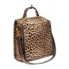 На фото 1 - Женский рюкзак из искусственной и натуральной кожи с леопардовым принтом