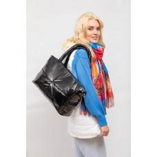 На фото 1 - Вместительная сумка из искусственной кожи, цвет черный