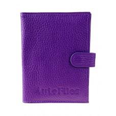 На фото 1 - Фиолетовая кожаная обложка для автодокументов