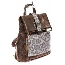 На фото 1 - Женский рюкзак из искусственной и натуральной кожи, цвет бронза+леопардовый принт