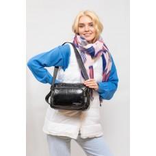 На фото 1 - Молодёжная  сумка из экокожи, цвет черный