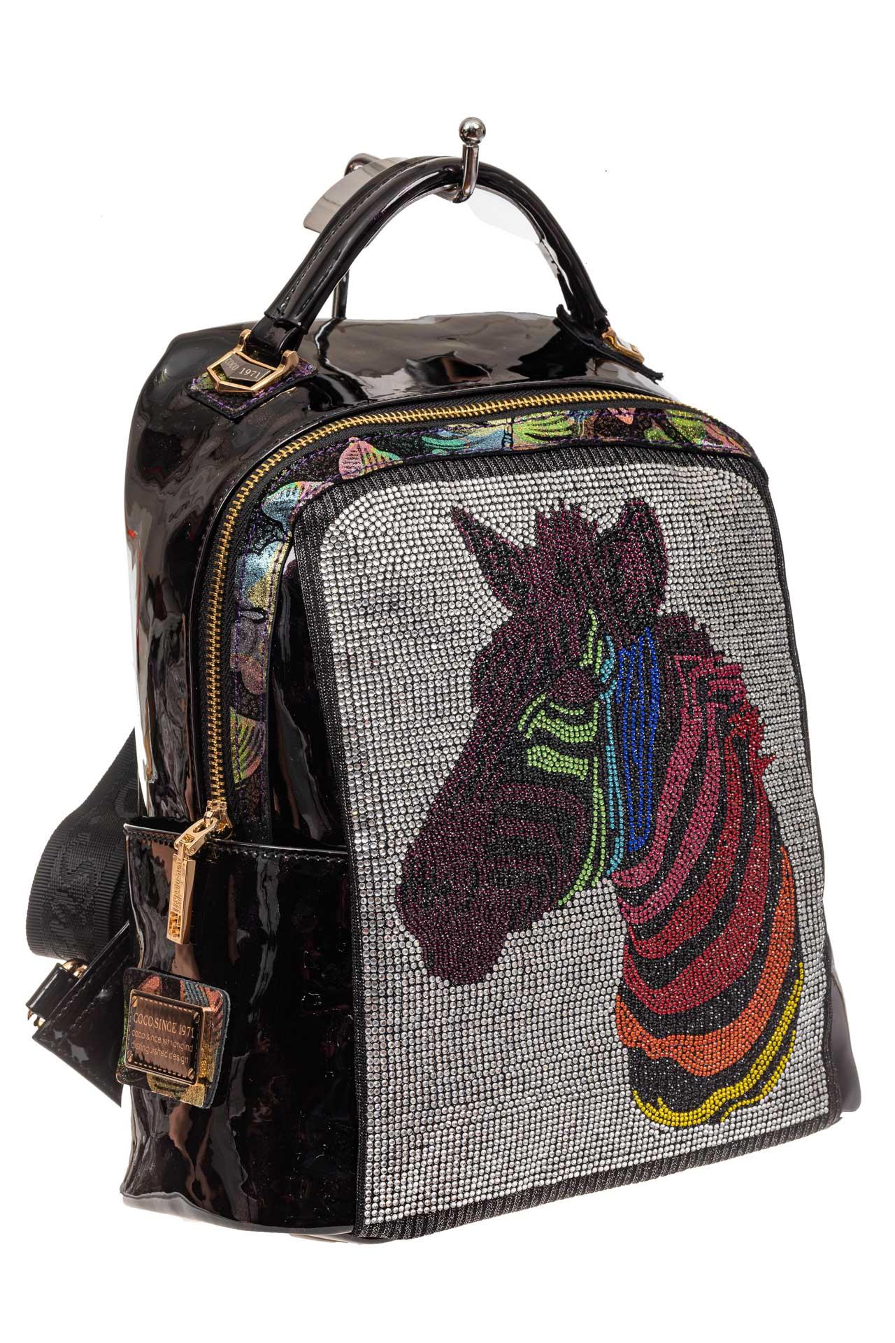 На фото 1 - Женский рюкзак из кожи со стразами, цвет фиолетовый