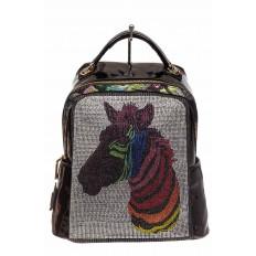 На фото 2 - Женский рюкзак из кожи со стразами, цвет фиолетовый