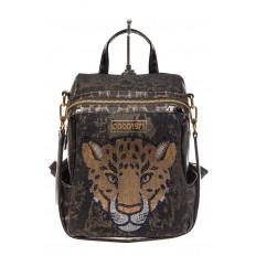 На фото 2 - Женский рюкзак с изображением леопарда из страз