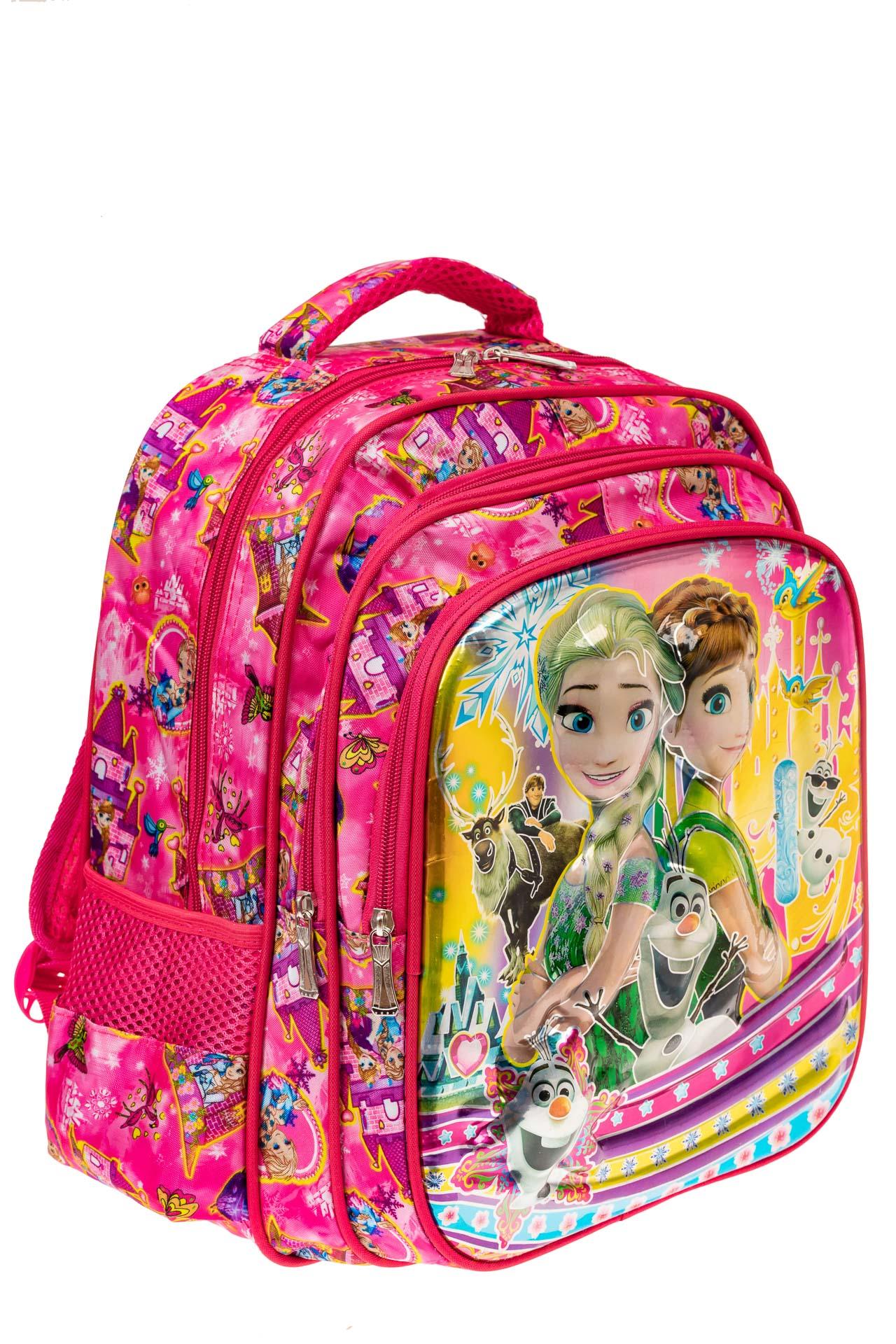 На фото 1 - Большой вместительный рюкзак с аппликацией, цвет розовый
