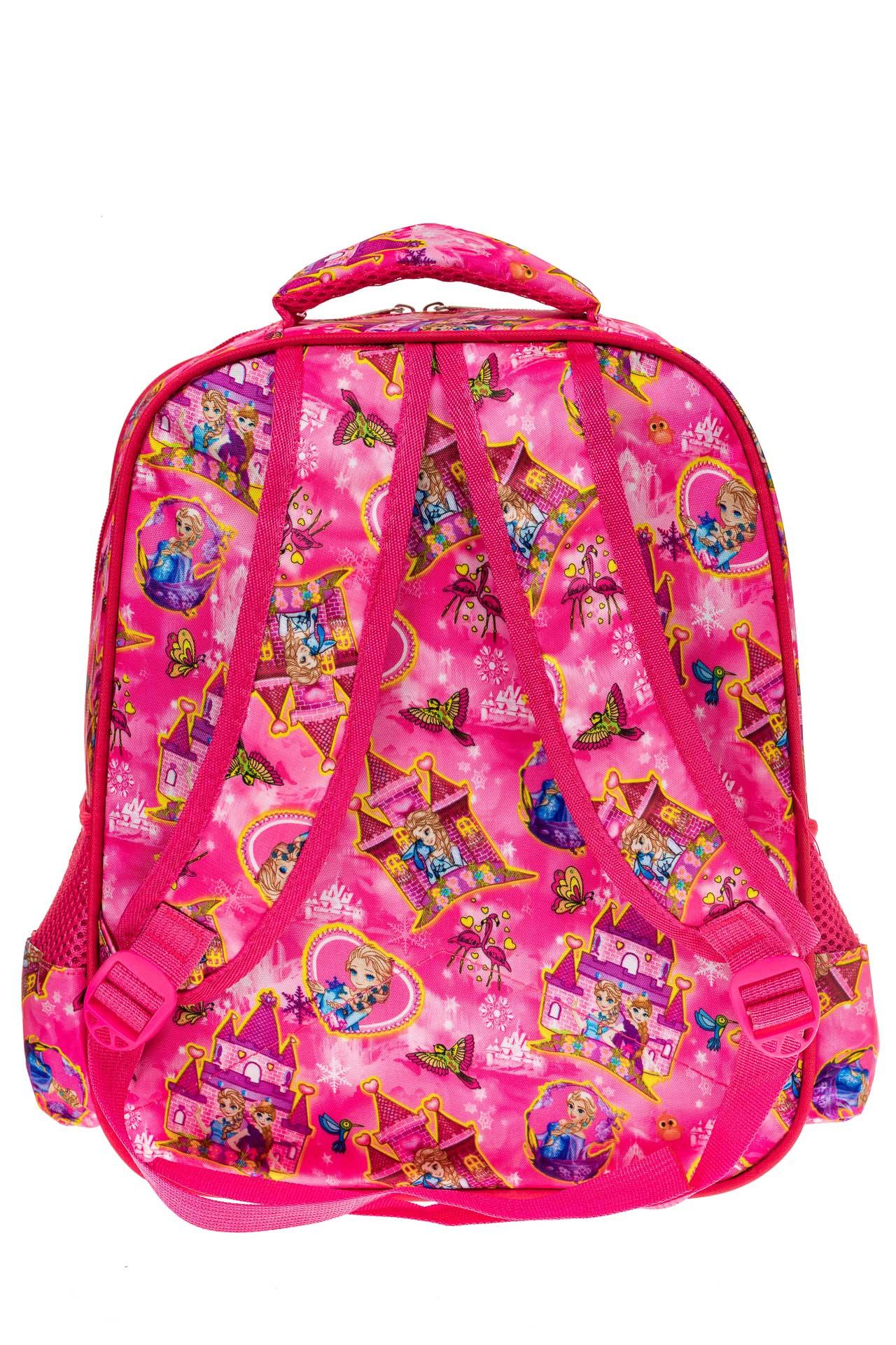 На фото 2 - Большой вместительный рюкзак с аппликацией, цвет розовый