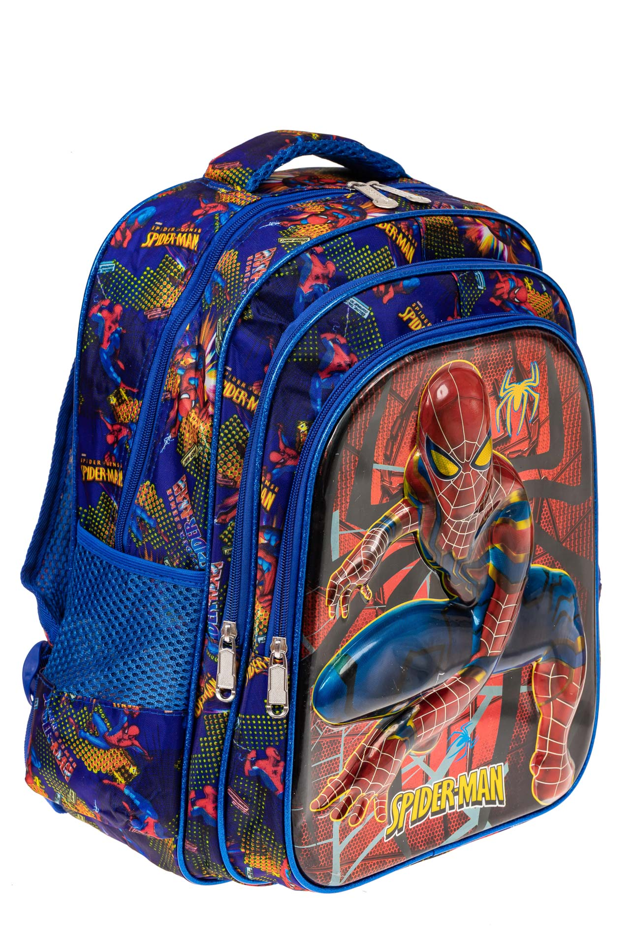 На фото 1 - Большой вместительный рюкзак с аппликацией, цвет синий