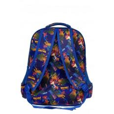 На фото 2 - Большой вместительный рюкзак с аппликацией, цвет синий