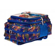 На фото 3 - Большой вместительный рюкзак с аппликацией, цвет синий