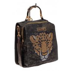 На фото 1 - Женский рюкзак с изображением леопарда из страз