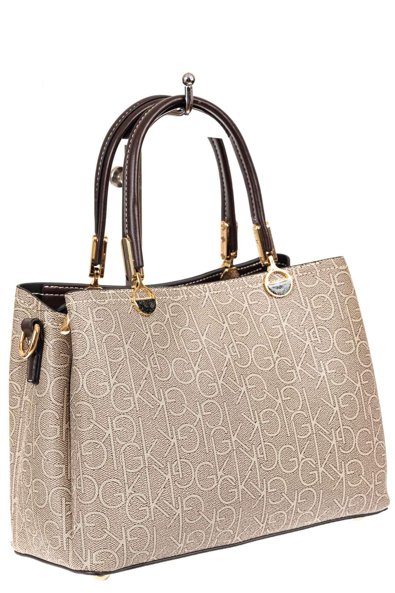 Женская сумка тоут из принтованного кожзама, цвет серый65130PJ0420/11