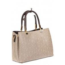 На фото 1 - Женская сумка тоут из принтованного кожзама, цвет серый