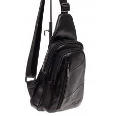 На фото 1 - Мужская сумка слинг из натуральной кожи, цв...