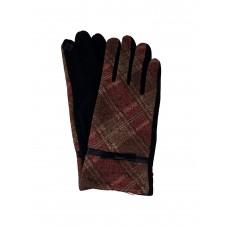 На фото 1 - Женские велюровые перчатки в клетку, мультицвет